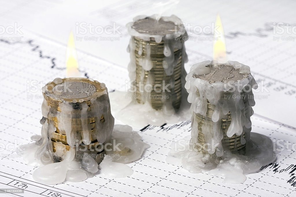 World crisis (burning money, euro and dollar) royalty-free stock photo