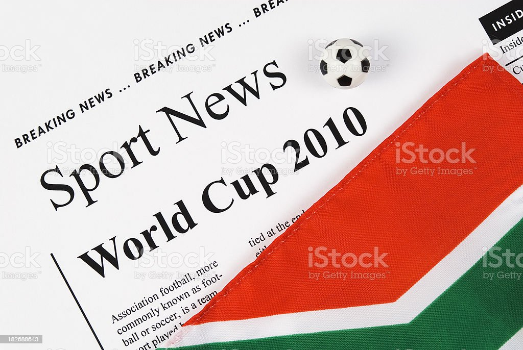 World Cup 2010 headlines with ball and South African flag(I) stock photo