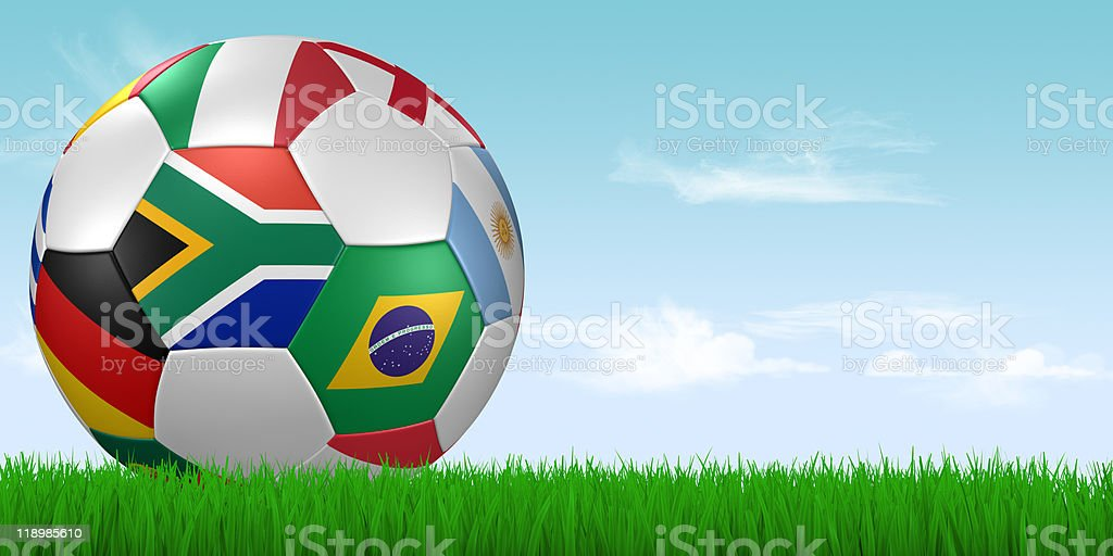 world cup 2010 soccer ball in grass royalty-free stock photo