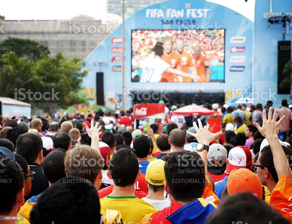 World Cup 2014 fans at the S?o Paulo Fan Fest stock photo