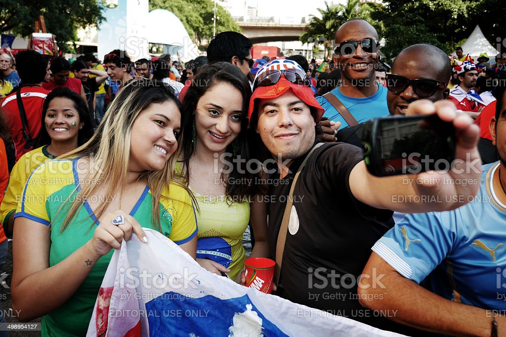 World Cup 2014 selfie stock photo