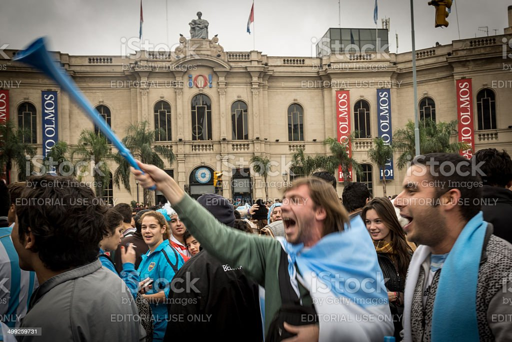 World Cup Fans Gather to celebrate in Cordoba stock photo