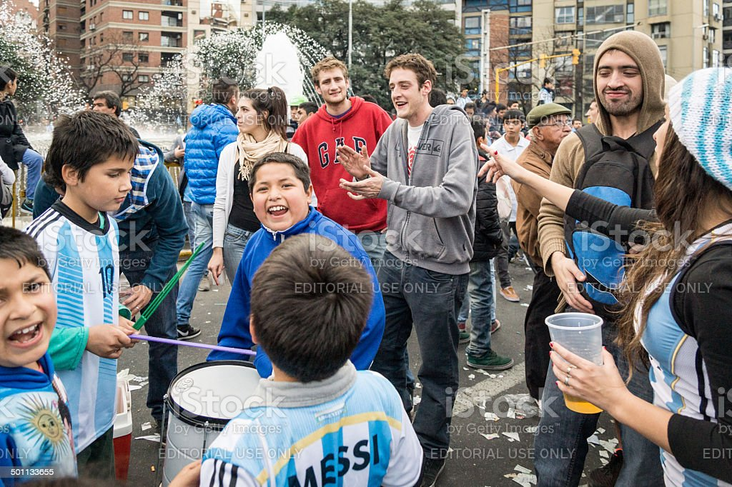 World Cup Fans Gather to celebrate in Cordoba royalty-free stock photo