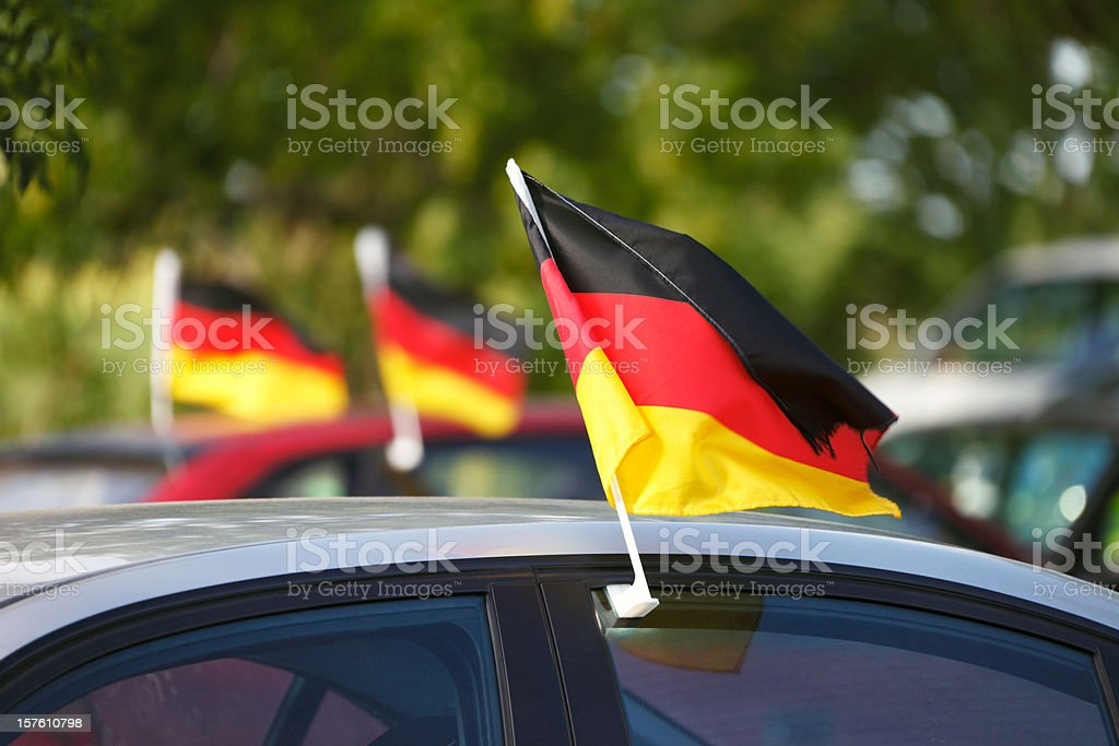 World Cup German Flags on Cars stock photo