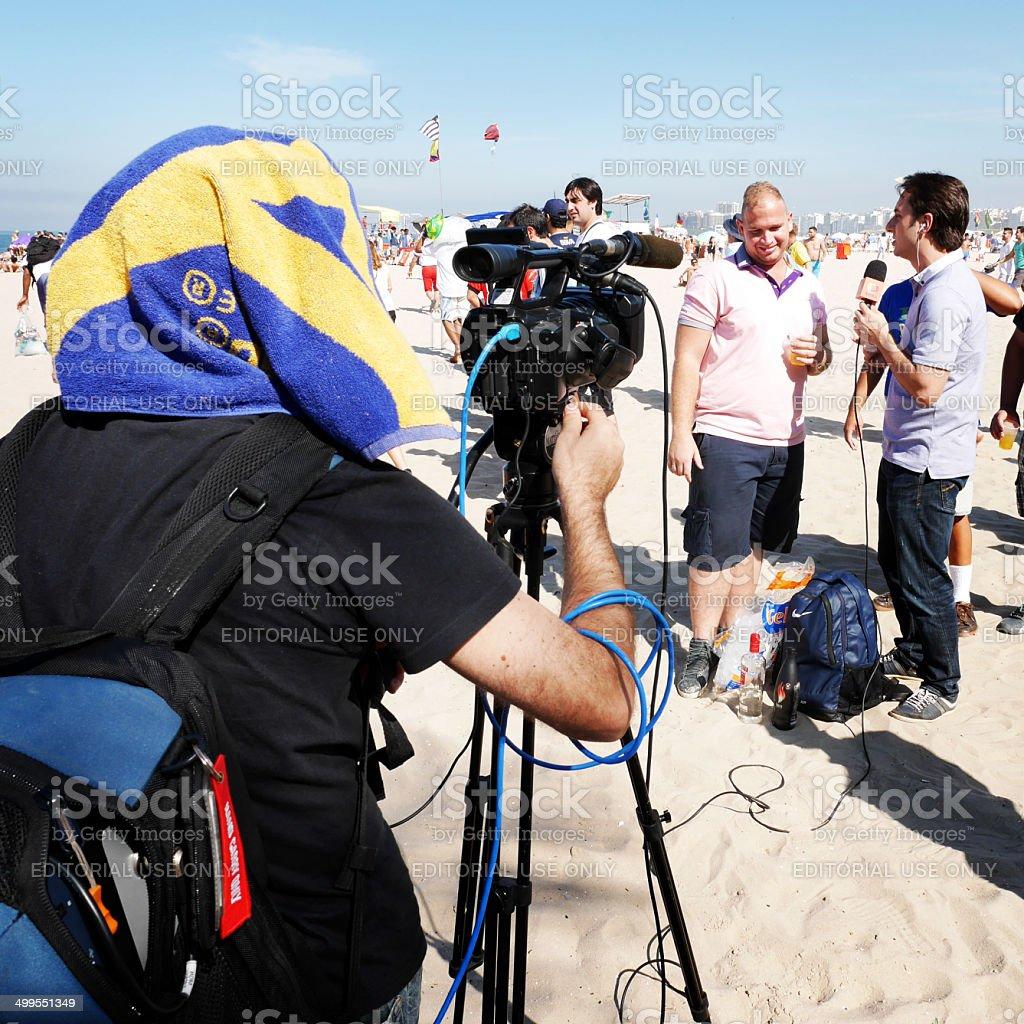 World Cup interview, Ipanema Beach, Brazil stock photo