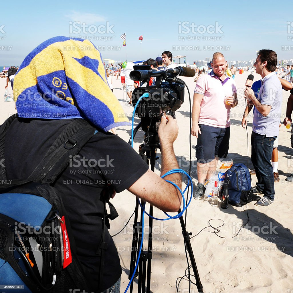 World Cup interview, Ipanema Beach, Brazil stock photo