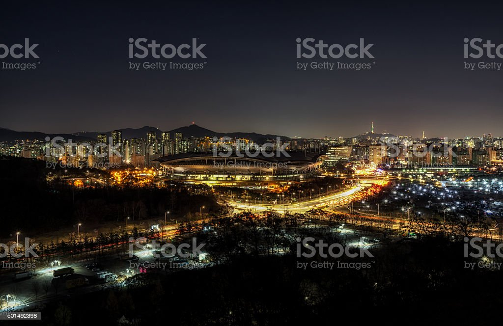 world cup stadium in seoul taken at night stock photo