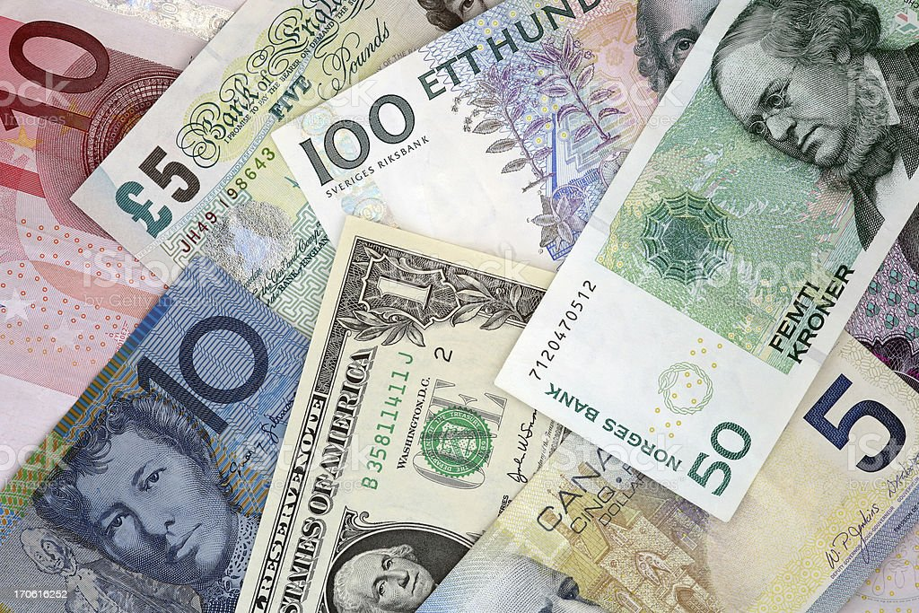World Currencies : Euro, Pound, Dollar, Kroner banknotes stock photo