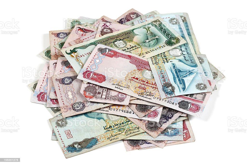 World Currencies. Heap of United Arab Emirates Dirham stock photo