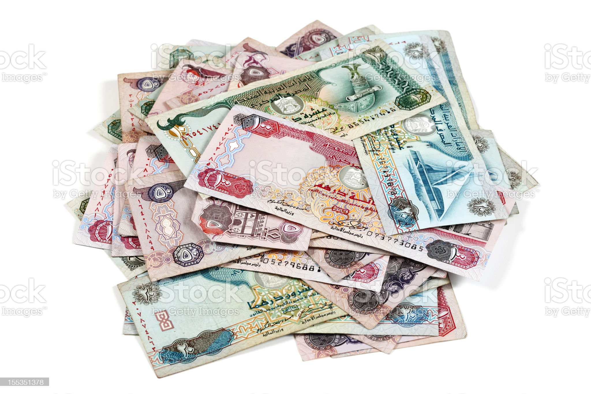 World Currencies. Heap of United Arab Emirates Dirham royalty-free stock photo