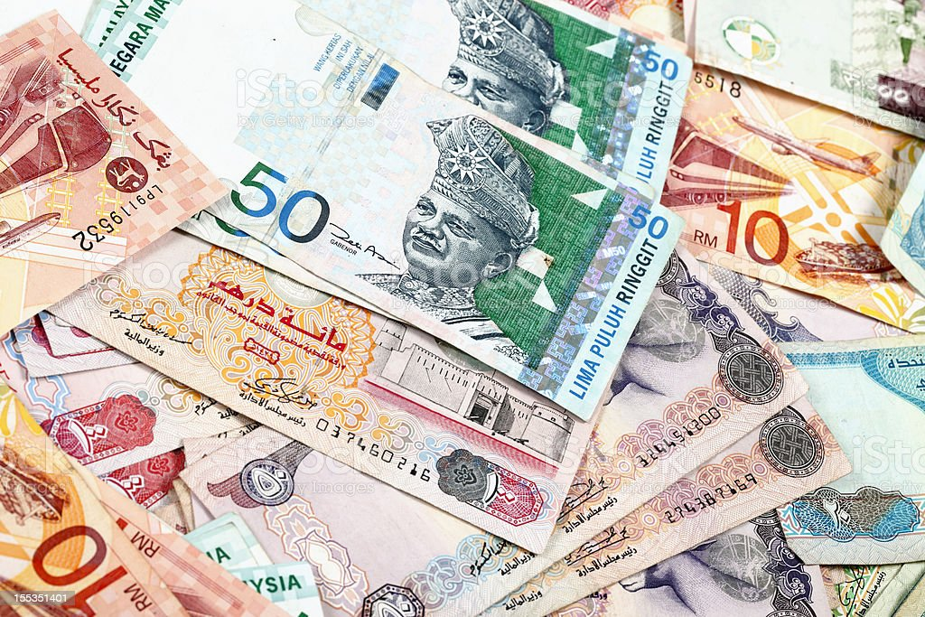 World Currencies. Malaysian Ringgit and UAE Dirham royalty-free stock photo
