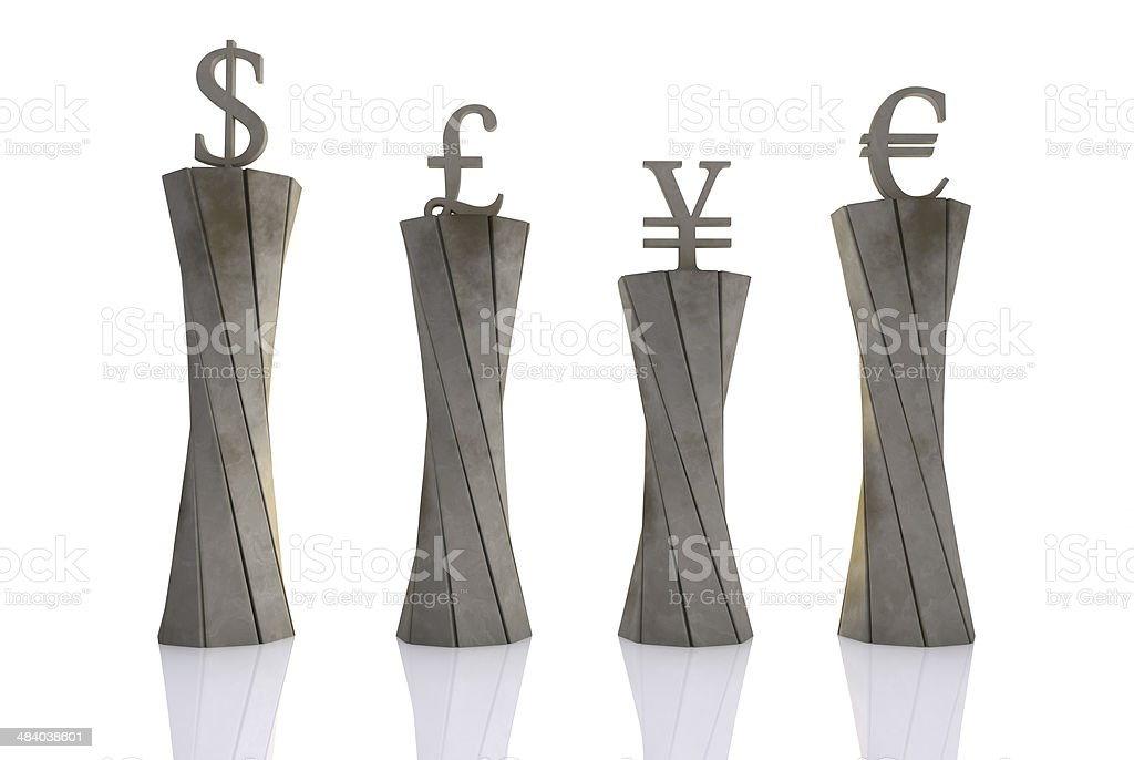 World currencies on pedestals stock photo