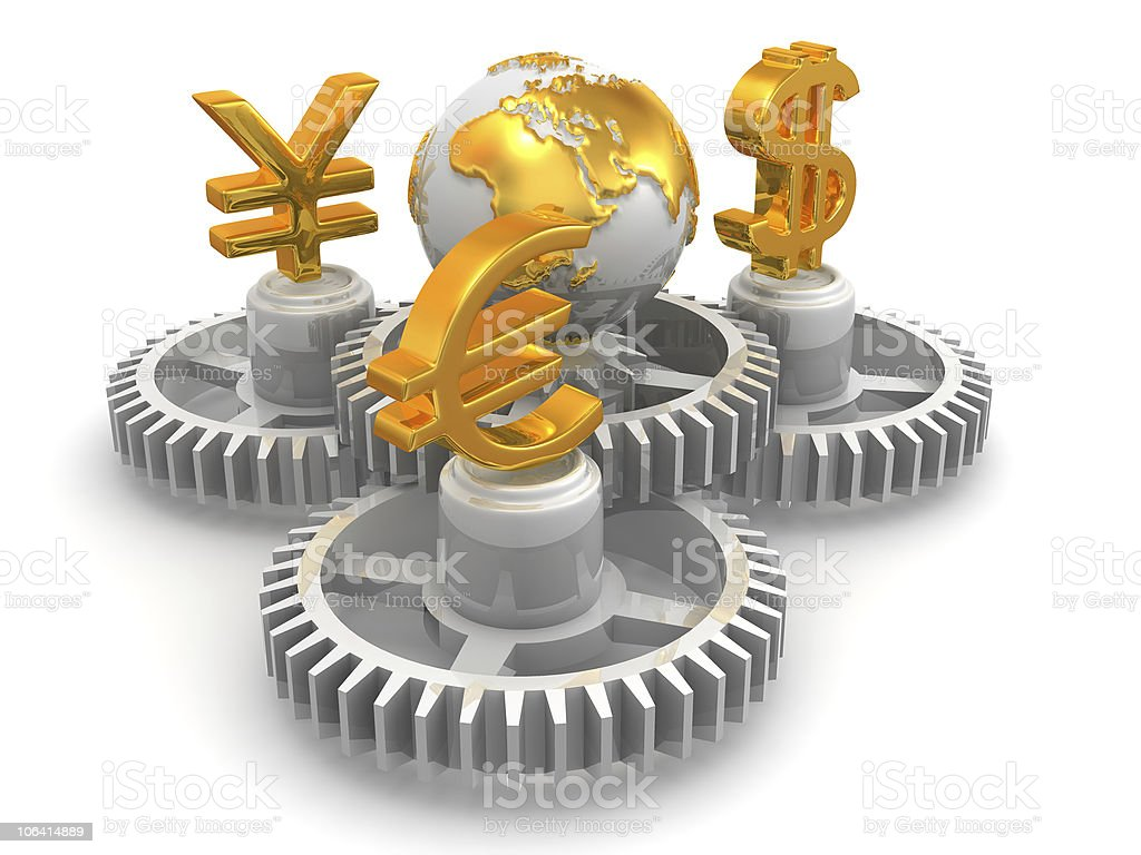World currency. 3d royalty-free stock photo