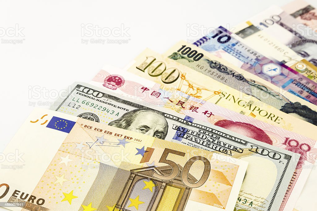 World currency banknotes stock photo