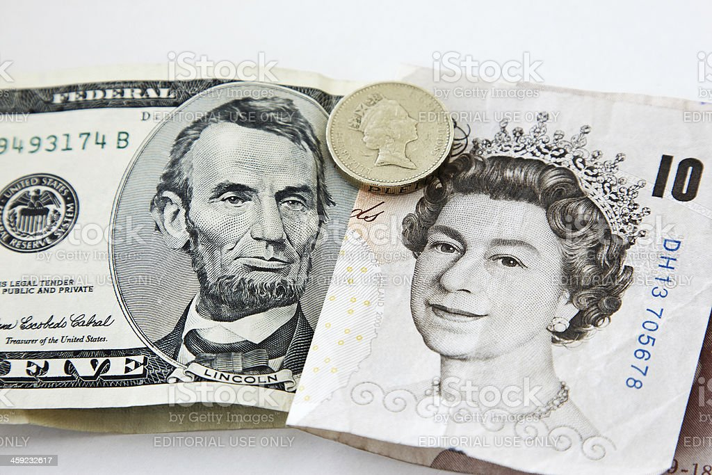 World currency exchange differences sterling and dollars stock photo