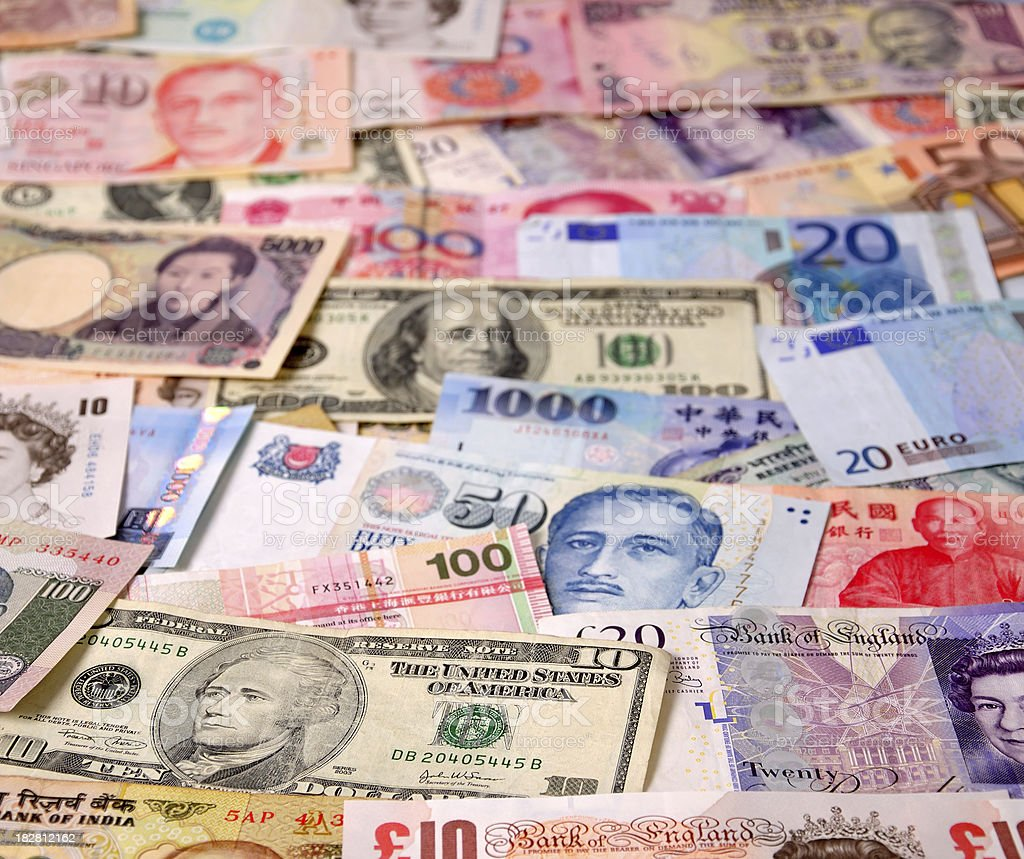 World Currency Notes stock photo