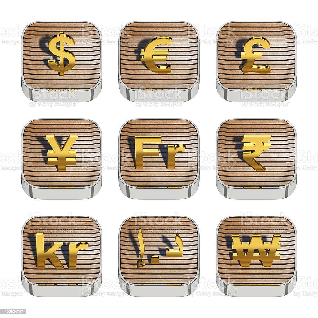 World currency symbols on 3d wooden app icon stock photo