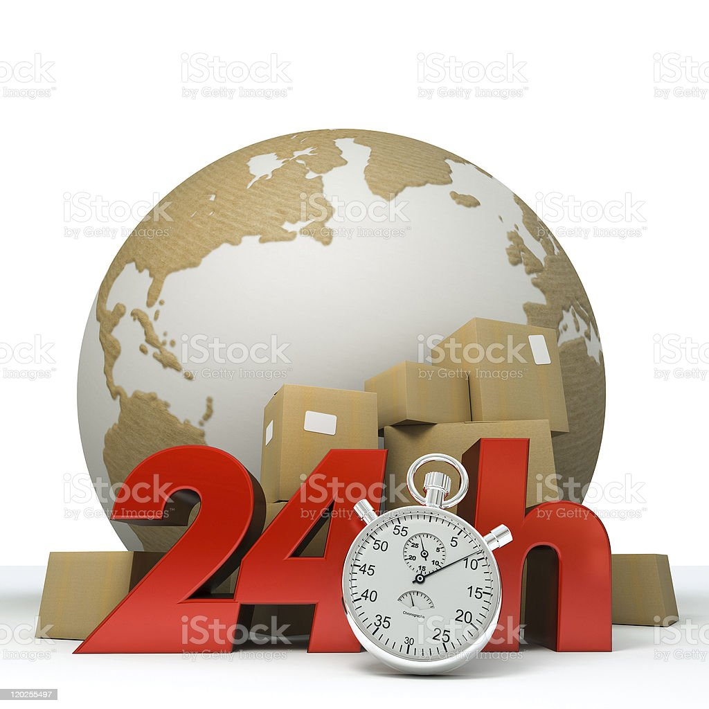 World delivery in 24 Hrs stock photo