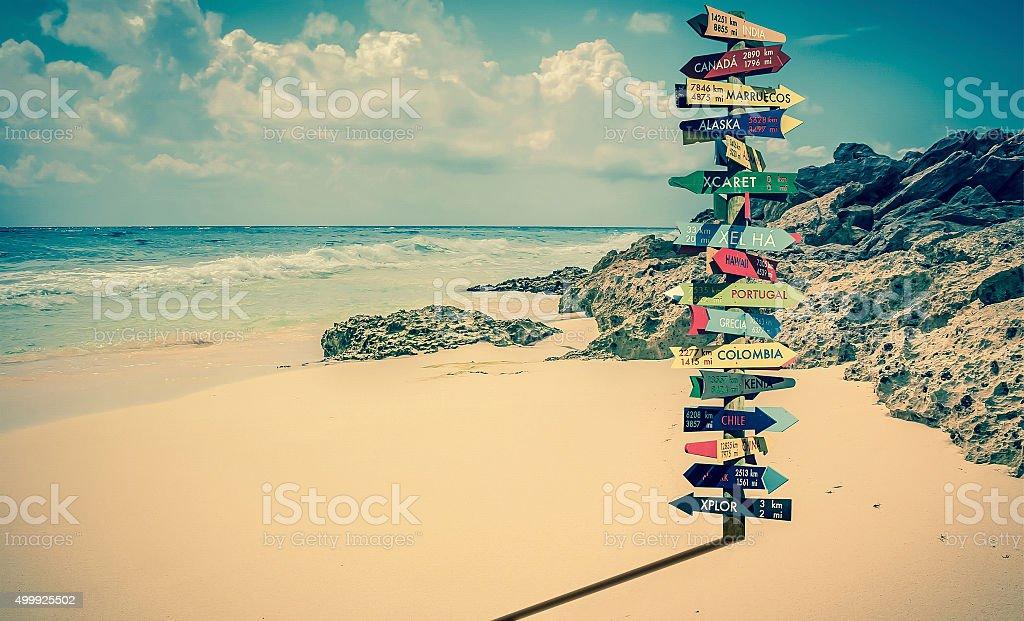 World directions signpost stock photo