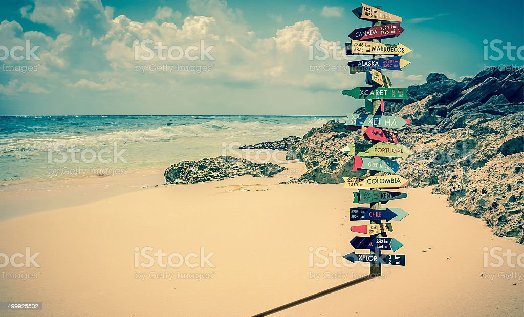 World directions signpost stock photo