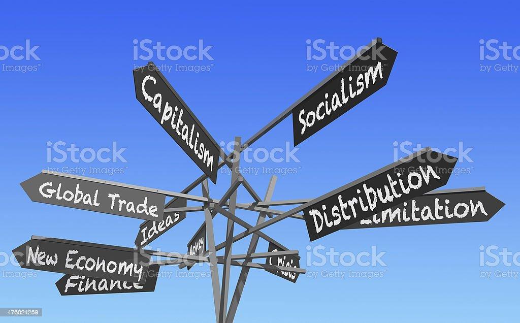 world economy signs post stock photo