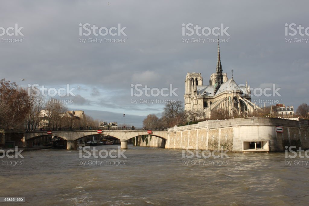 World famous Cathedral Notre Dame, Paris, France stock photo