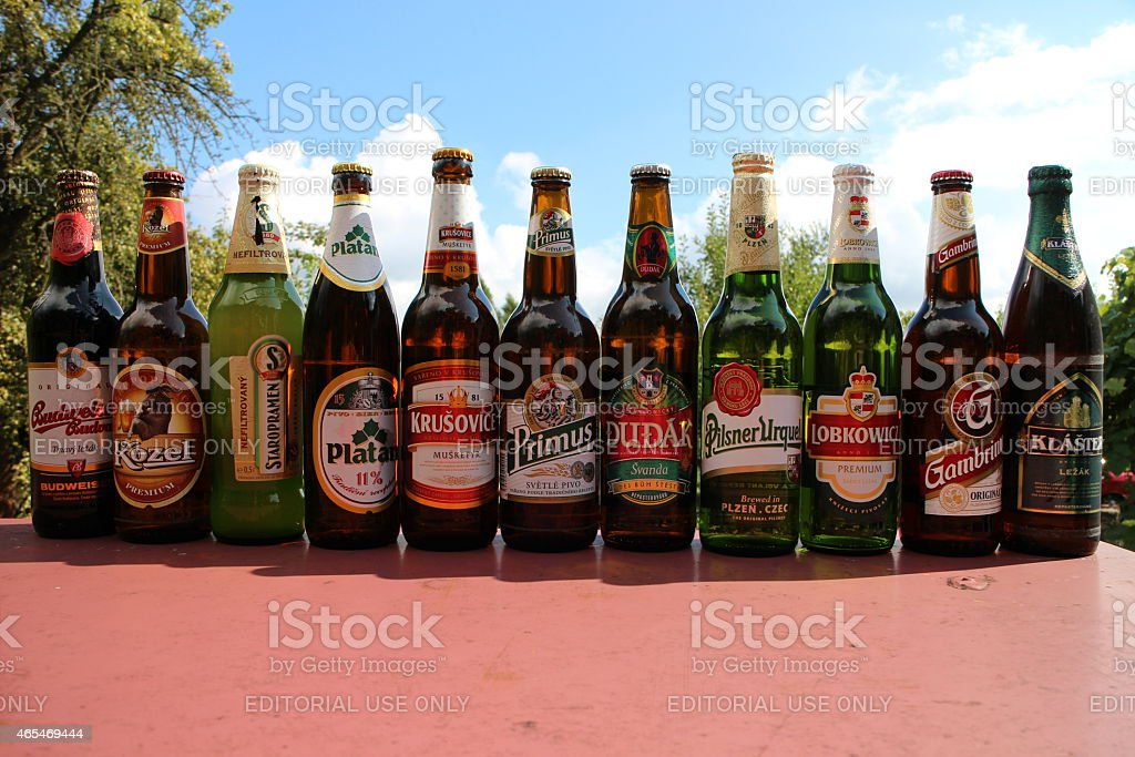 World Famous Czech Beer Brands stock photo