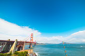 World famous Golden Gate bridge in San Francisco bay