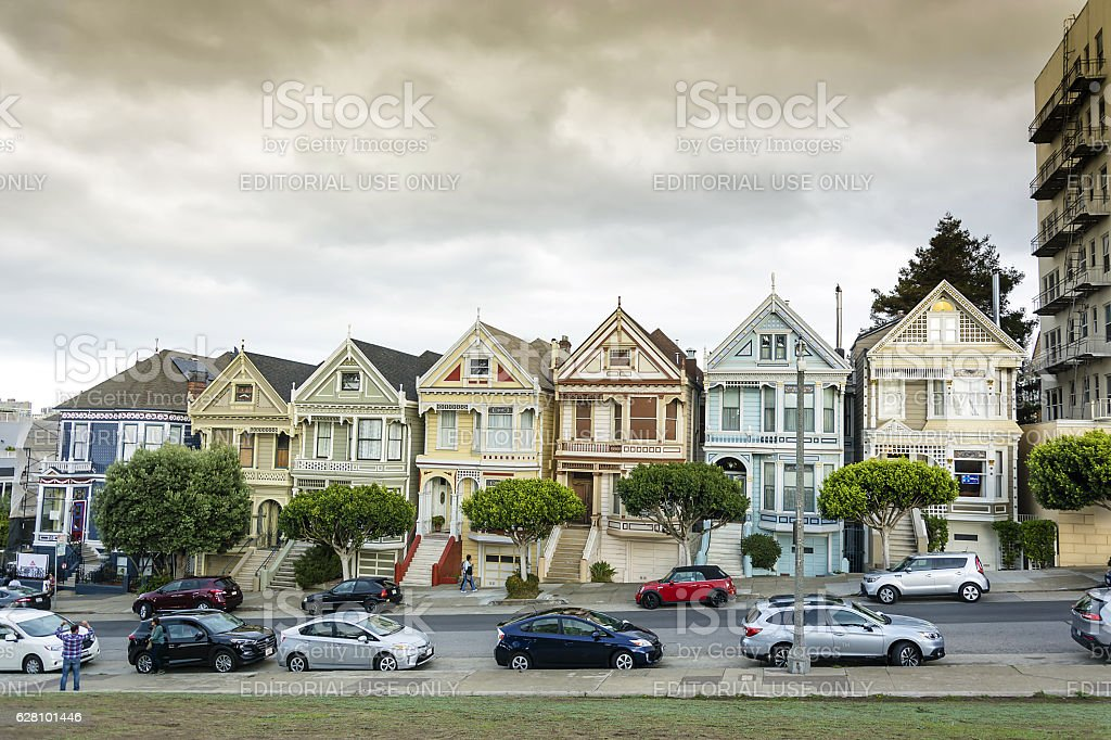 World famous row of Victorian homes stock photo