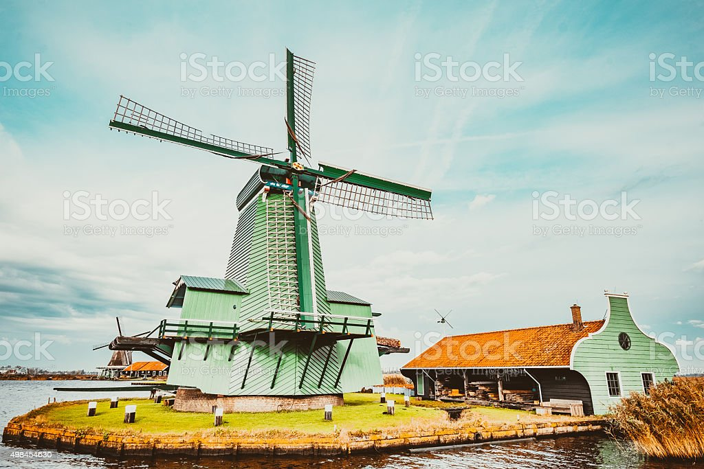 World famous Windmills of Netherlands stock photo