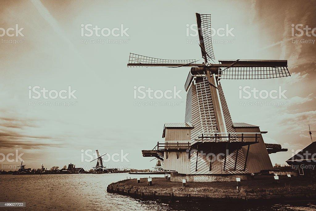 World famous Windmills of Netherlands stock photo