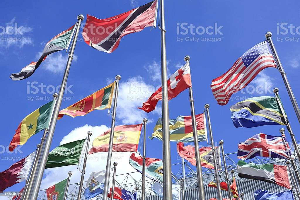 World Flags blowing in the wind royalty-free stock photo