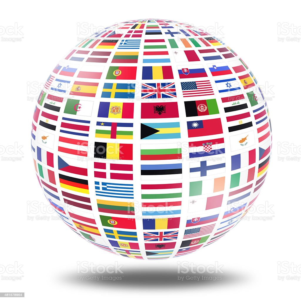 World flags globe stock photo