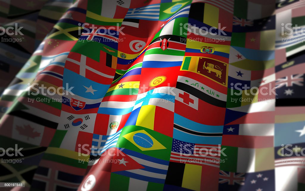 world flags on one colorful flag stock photo