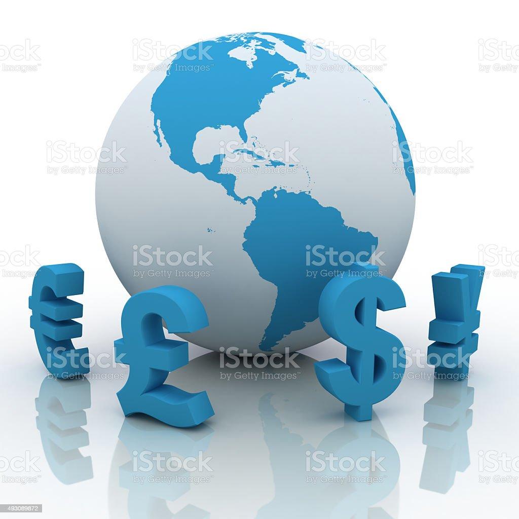 World global currency exchange stock photo