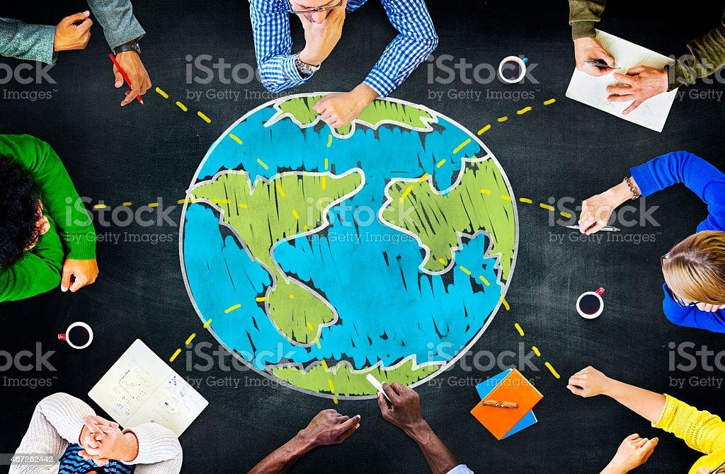 World Global Ecology International Meeting Unity Learning Concep stock photo