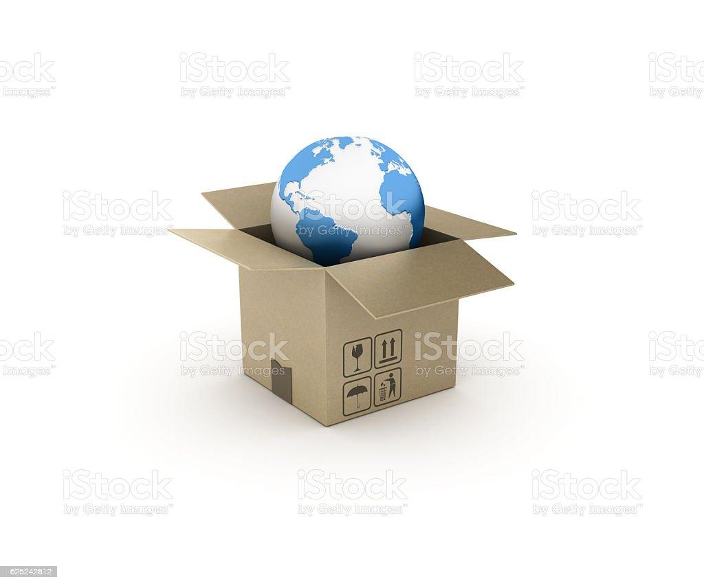 World Globe and Open CardBoard Box - 3D Rendering stock photo