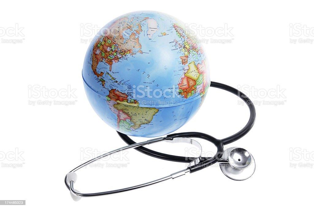 World Globe and Stethoscope stock photo