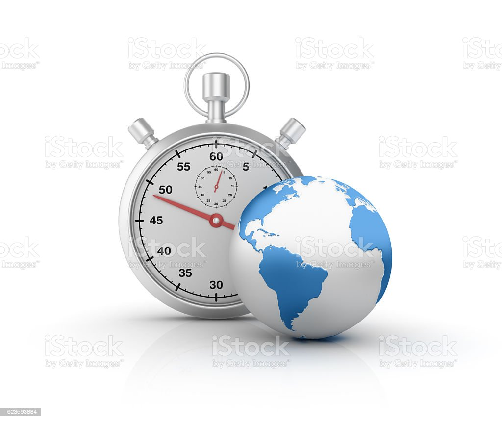 World Globe and Stopwatch - 3D Rendering stock photo