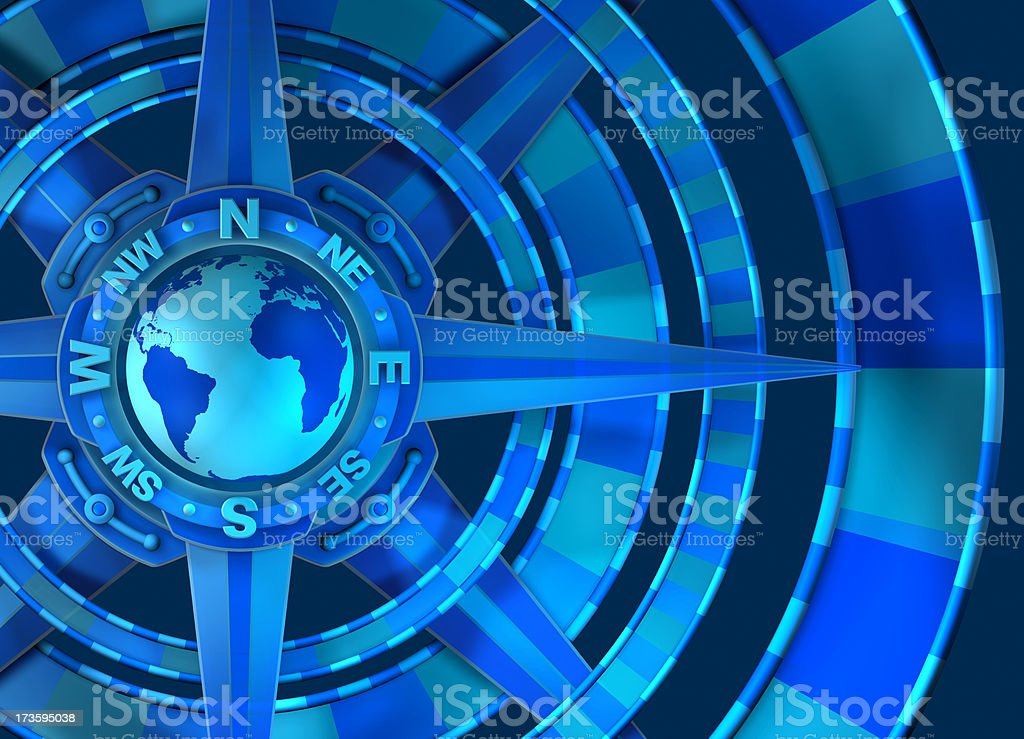 World Globe Compass Rose with Cardinal Points stock photo