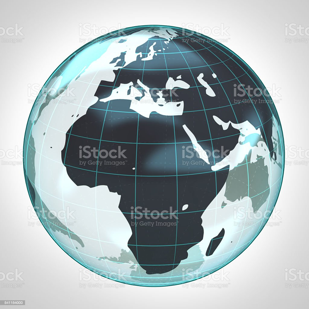world globe earth bubble focused to Africa and Europe stock photo