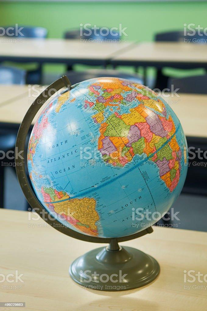 World globe in a school classroom stock photo