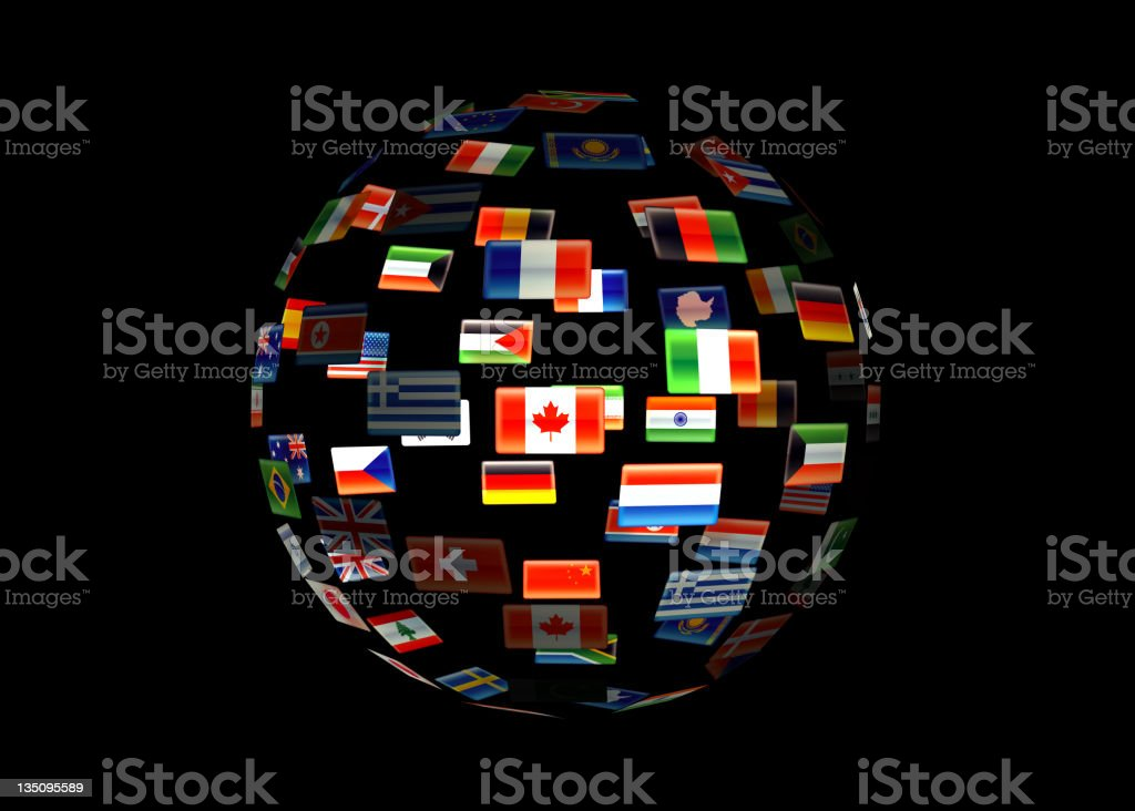 World globe of flags royalty-free stock photo