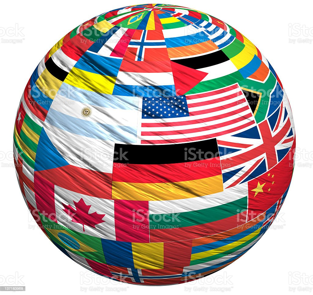 A world globe of the countries flags stock photo