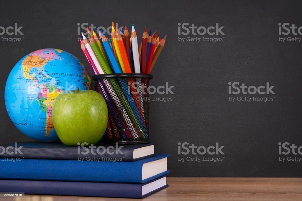 World Globe on a School Desk stock photo