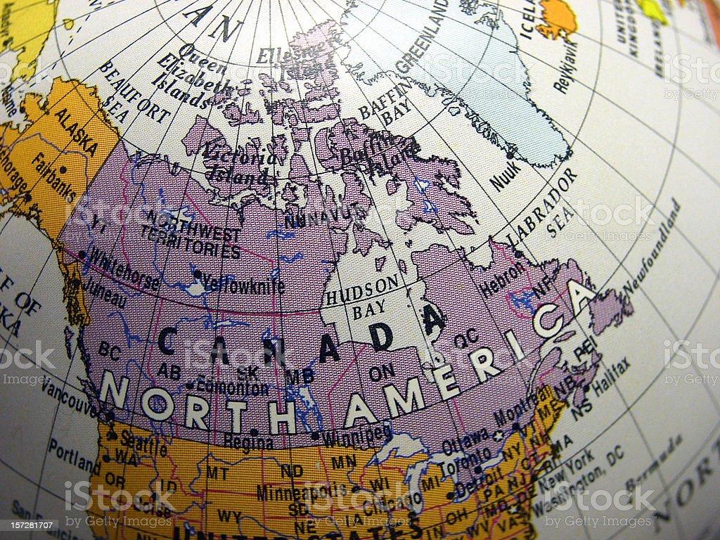 World Globe on Canada stock photo