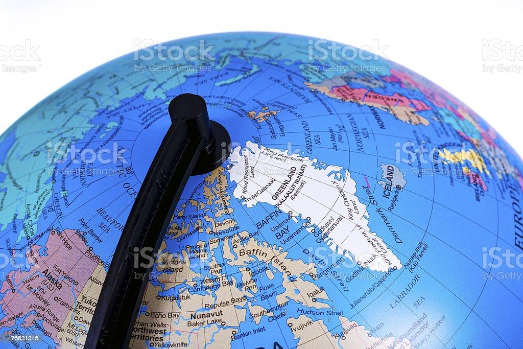 World Globe on Greenland stock photo