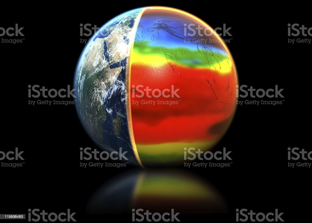 World globe shown with thermal heat to show global warming royalty-free stock photo