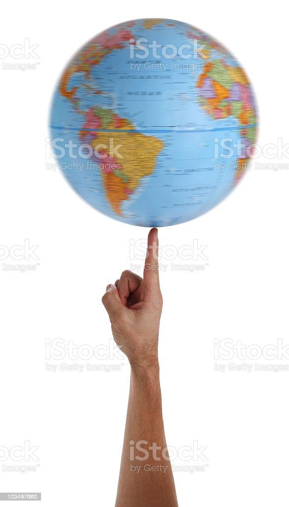 World Globe Spinning on Finger stock photo