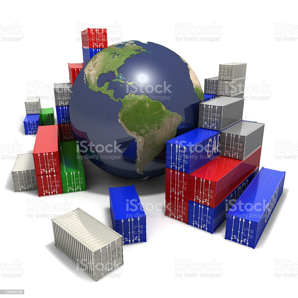 World globe surrounded by colorful shipping containers royalty-free stock photo